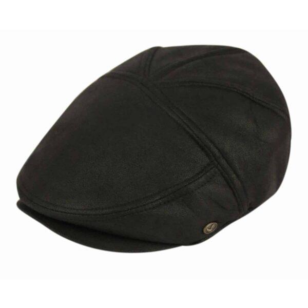 Black Faux Leather Ivy Hat