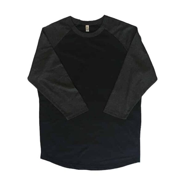 Black and Charcoal Baseball Tee