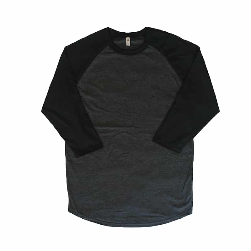 Charcoal and Black Baseball Tee