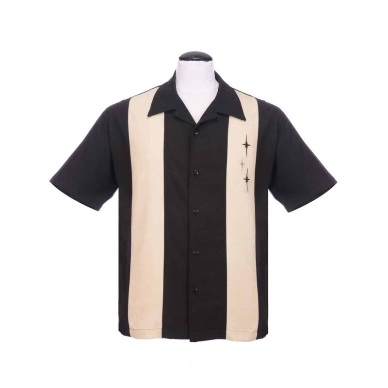 Black 3 Star Bowling Shirt by Steady Clothing