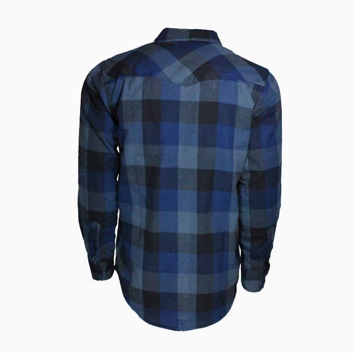 Navy and Gray Plaid Flannel Shirt 1