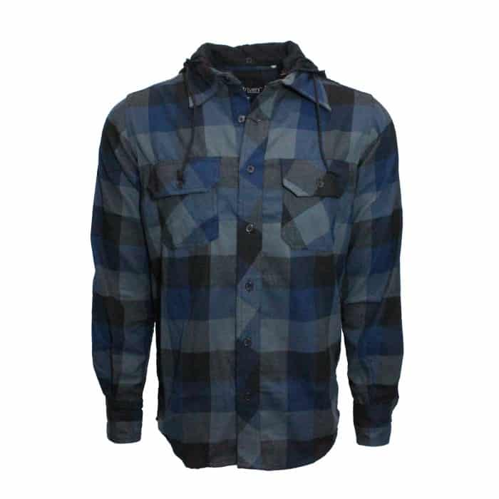 Navy Hooded Buffalo Plaid Flannel