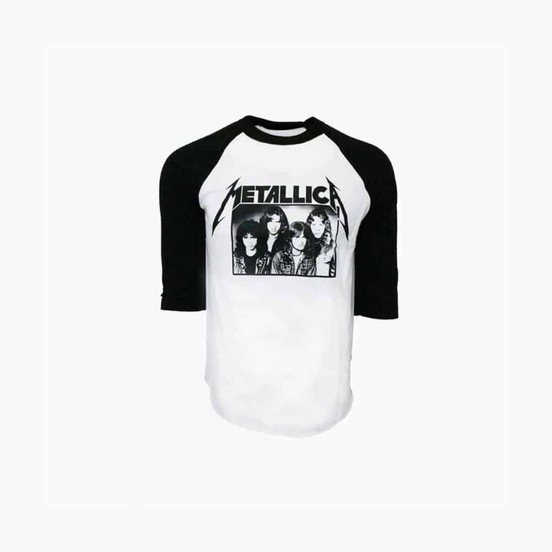 Metallica Group Photo Baseball 3/4 Sleeve White/Black 1