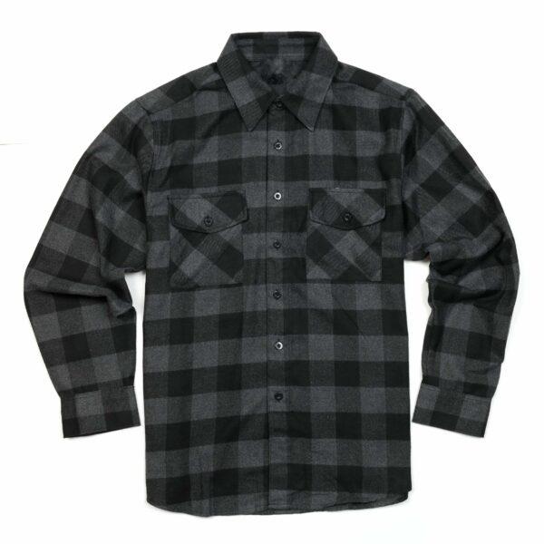 black dark gray checkered flannel