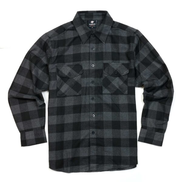 black dark gray checkered flannel