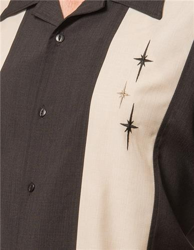 Black 3 Star Bowling Shirt by Steady Clothing 1
