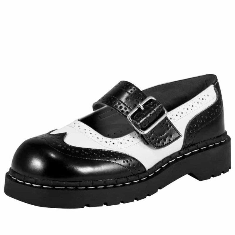 TUK Black and White Brogue Mary Jane T1035
