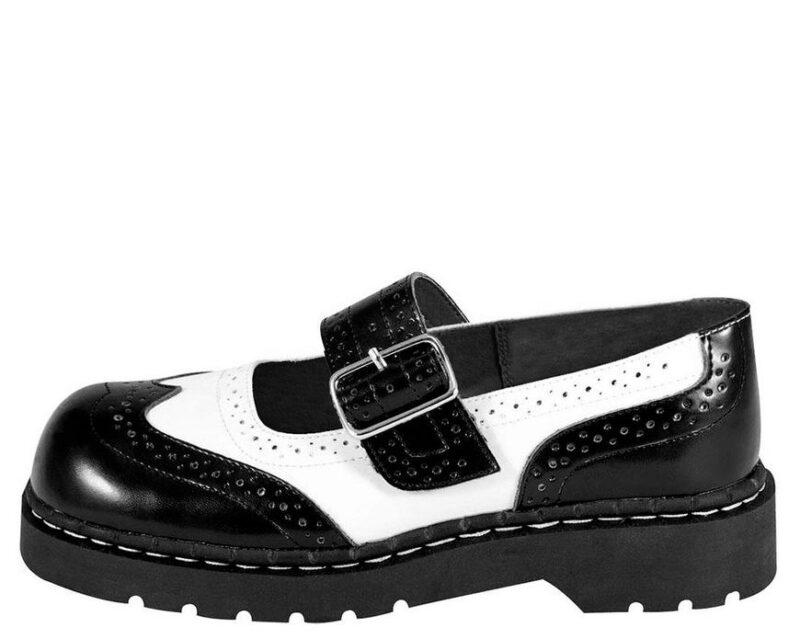 TUK Black and White Brogue Mary Jane T1035 2