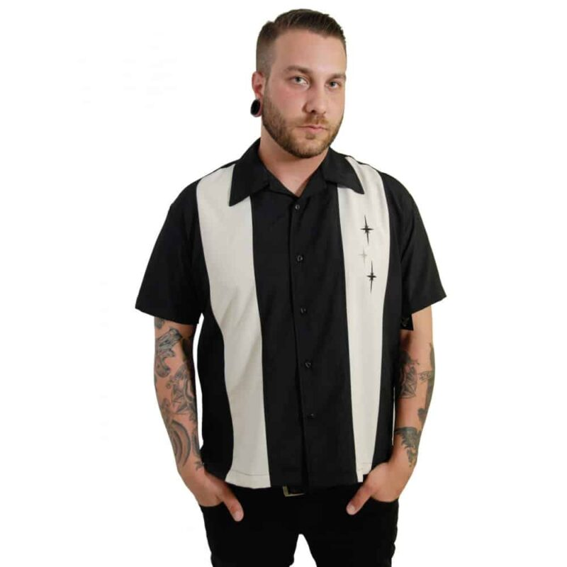 Black 3 Star Bowling Shirt by Steady Clothing 2