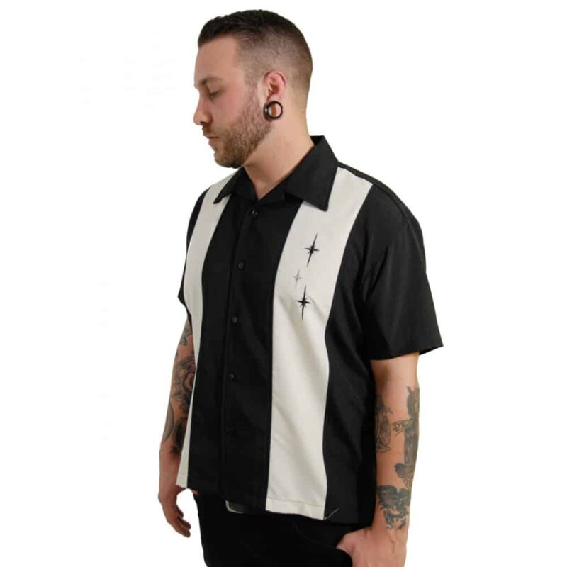 Black 3 Star Bowling Shirt by Steady Clothing 3