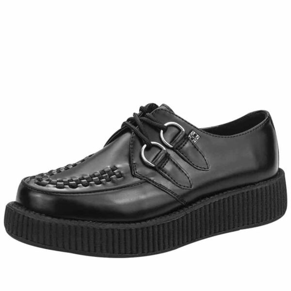 TUK Black Leather Low Sole Creeper V6806