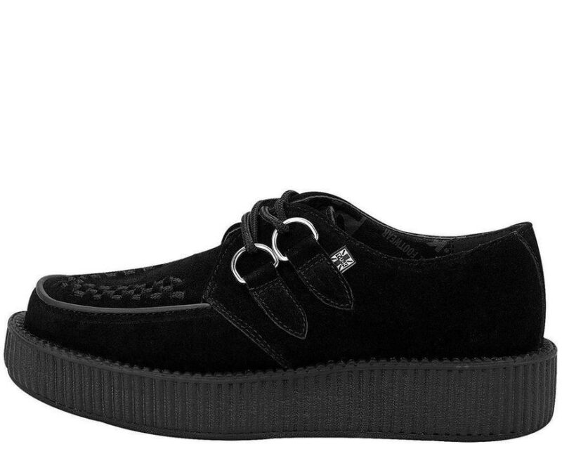 TUK Black Suede Low Sole Creeper V7270 1