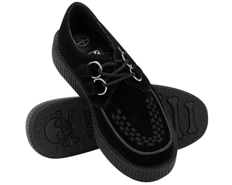 TUK Black Suede Low Sole Creeper V7270 2