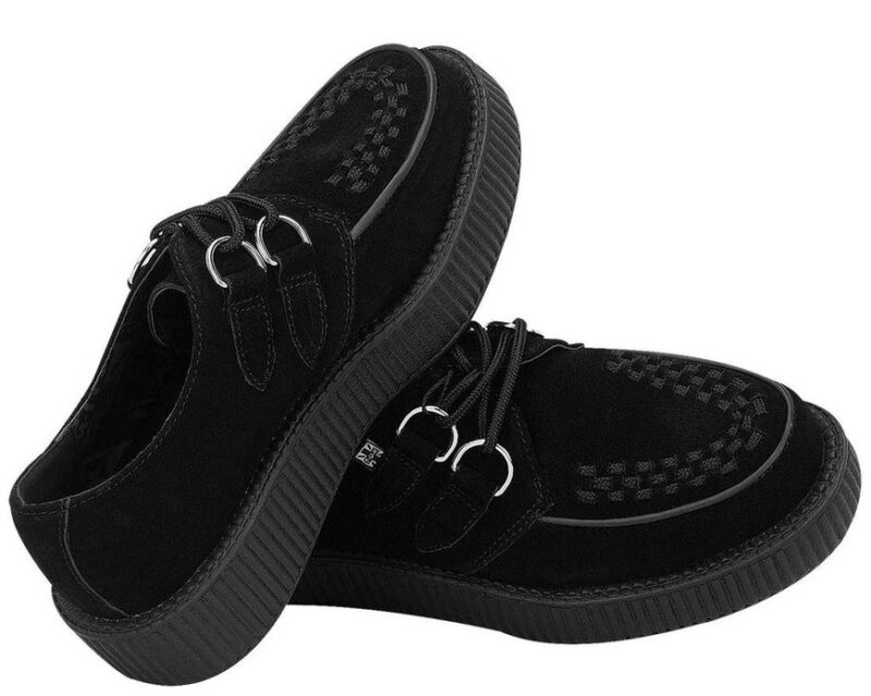 TUK Black Suede Low Sole Creeper V7270 3
