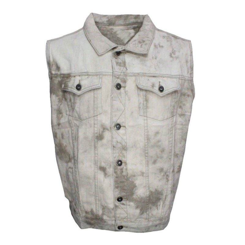 Tan Tie-Dye Denim Vest