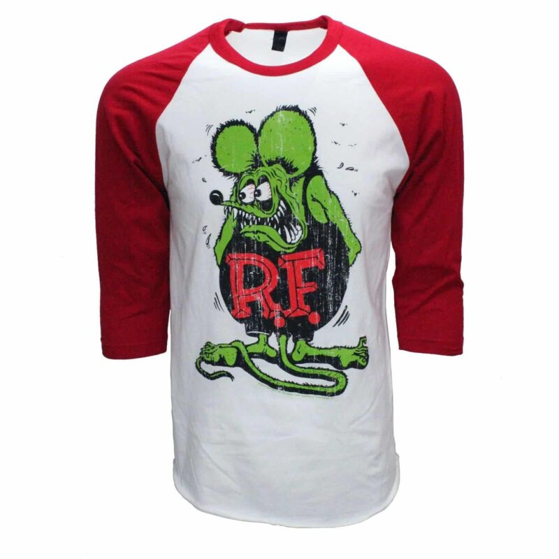 Rat Fink Ed Roth Big Daddy Baseball Tee Red