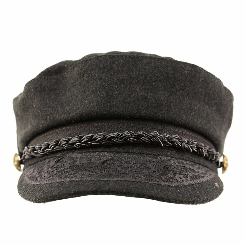 Wool Charcoal Greek Fisherman Hat with Lace Trim 2