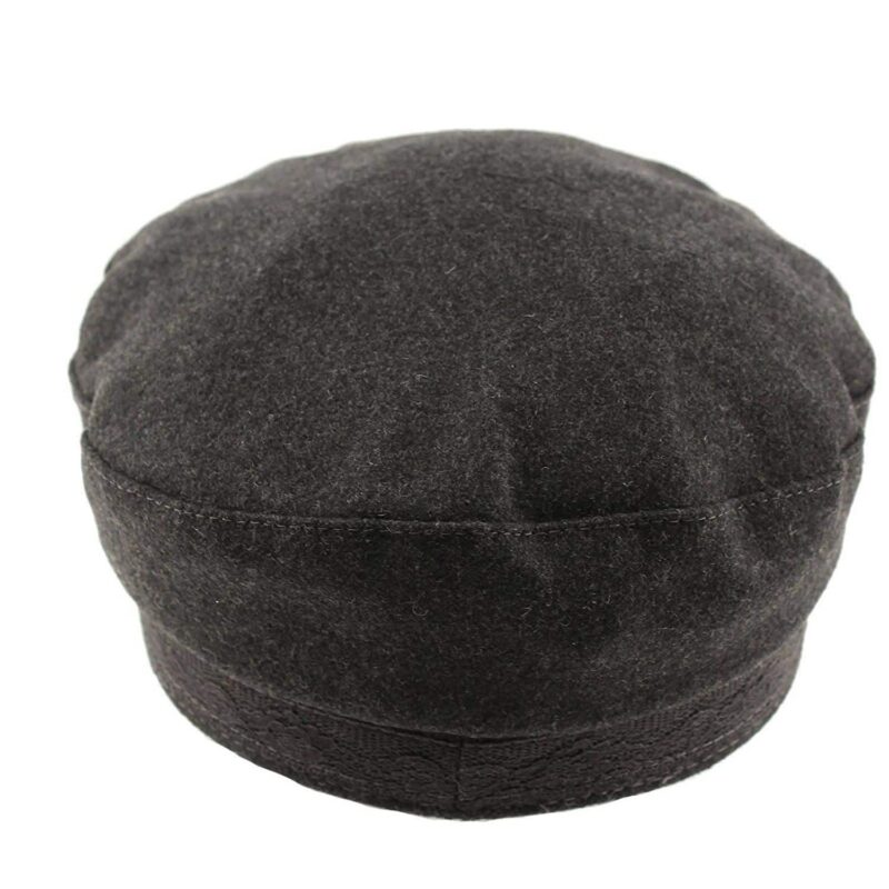 Wool Charcoal Greek Fisherman Hat with Lace Trim 1