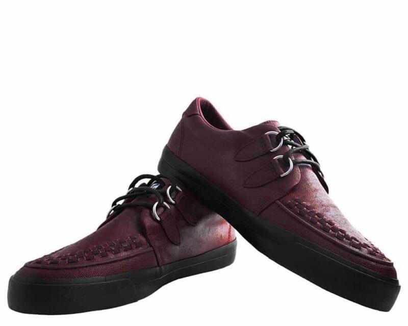 TUK Burgundy Wax Canvas Sneaker Creeper A9364 2