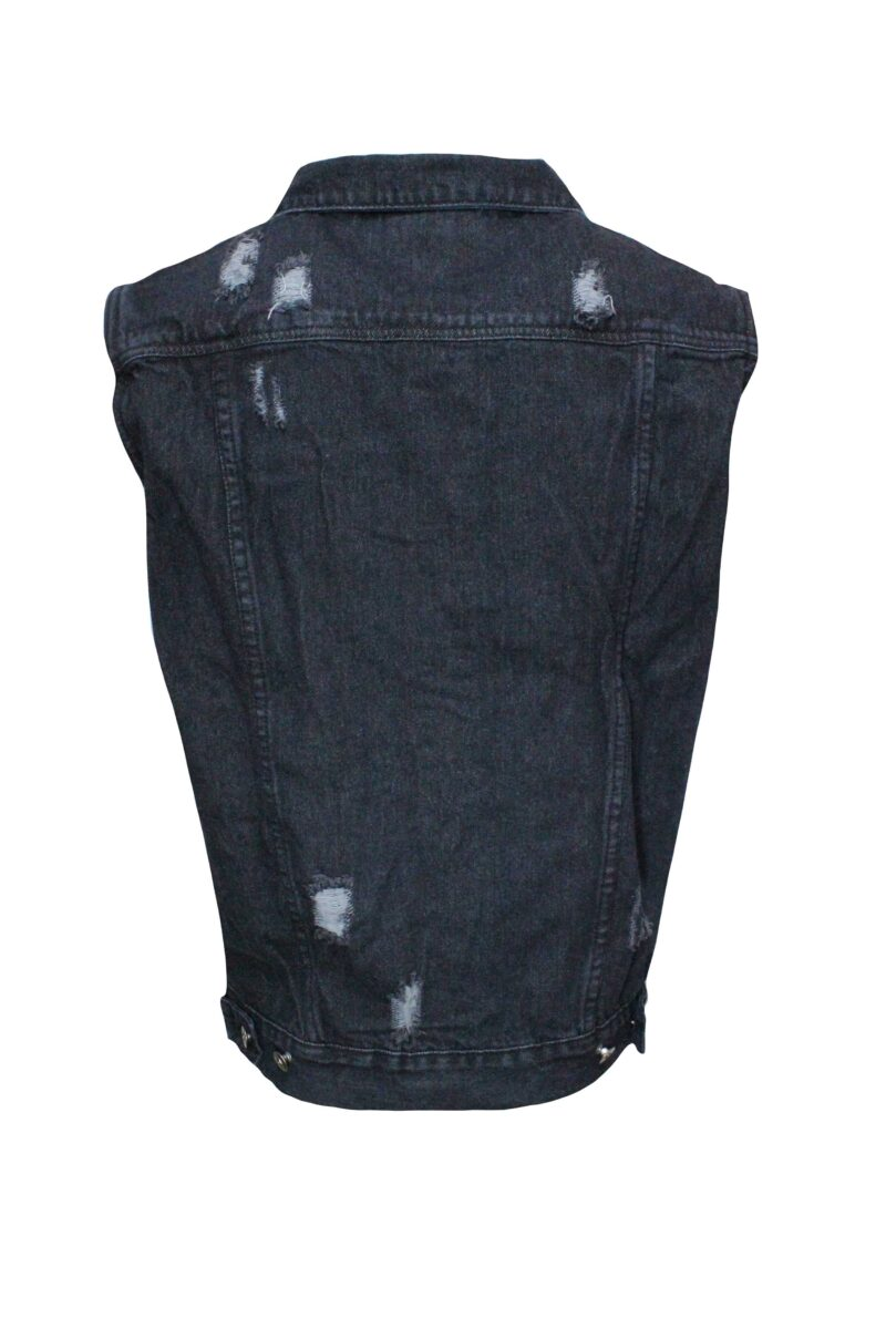 Black Distressed Denim Vest 1