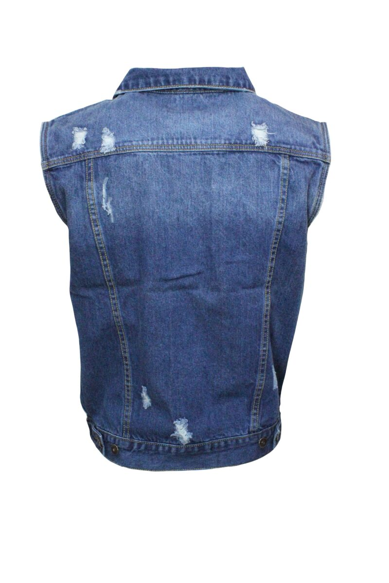 Blue Distressed Denim Vest 1