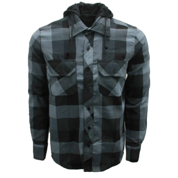 Black and Charcoal Hooded Flannel