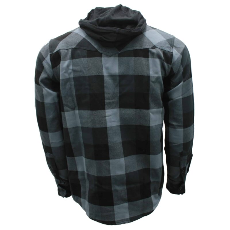 Black and Charcoal Hooded Flannel 1
