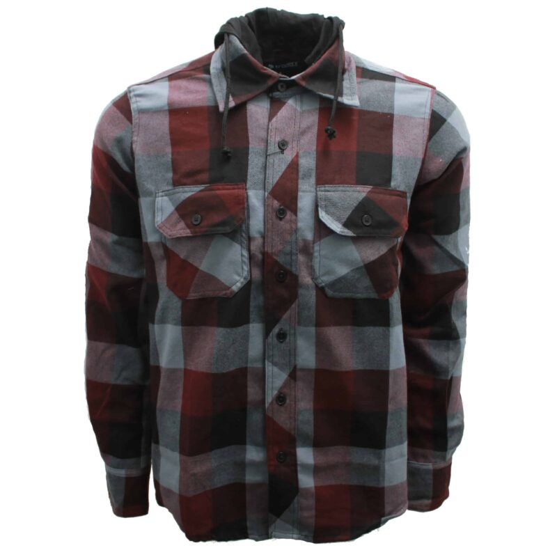 Burgundy and Gray Hooded Flannel