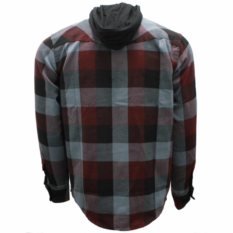 Burgundy and Gray Hooded Flannel 1