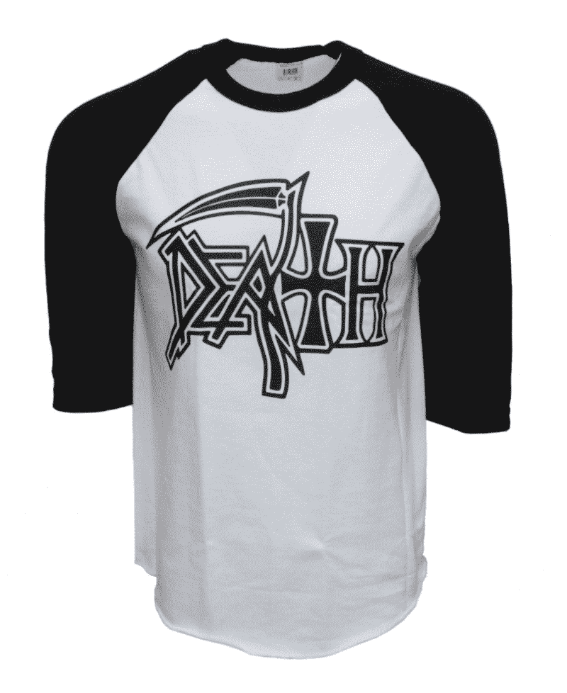 Death Band Raglan Baseball Tee White/Black & Gray/Black 2