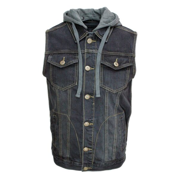 Black Denim Vest with Hoodie