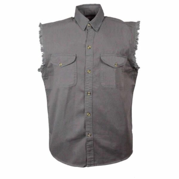 Gray Denim Cutoff Shirt by Milwaukee Leather