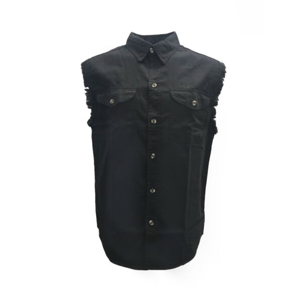 Black Denim Cutoff Shirt