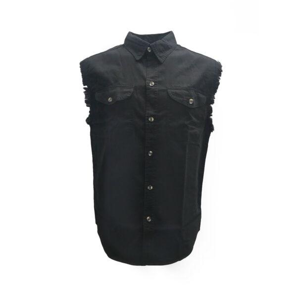 Black Denim Cutoff Shirt