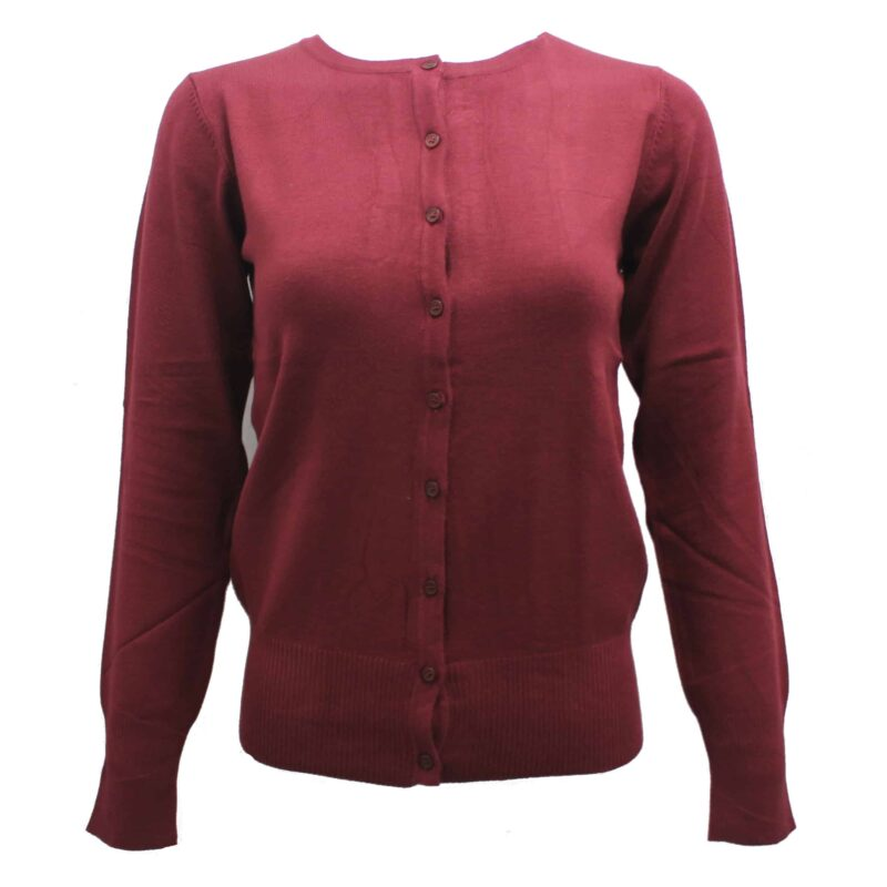 Burgundy Knit Cardigan Sweater