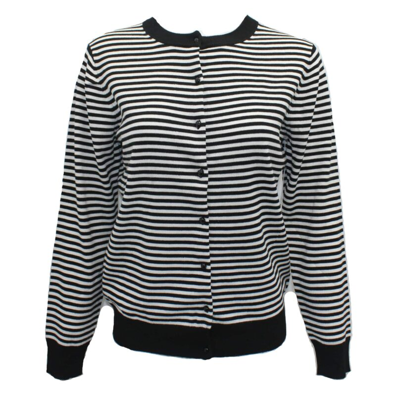 Black and White Striped Knit Cardigan Sweater
