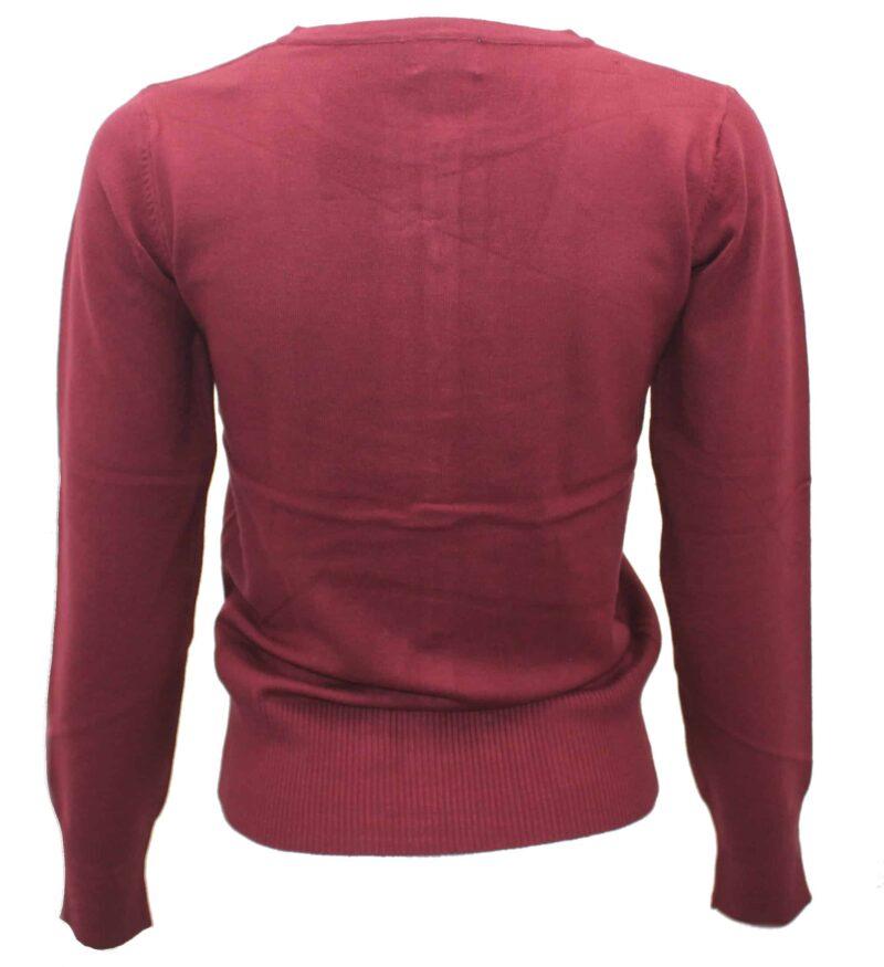 Women's Burgundy Knit Cardigan Sweater 1