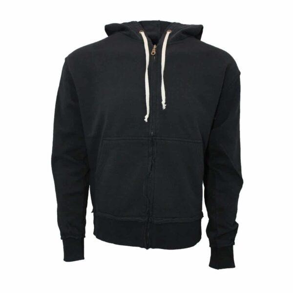 White Drawstring Black Zip Hoodie