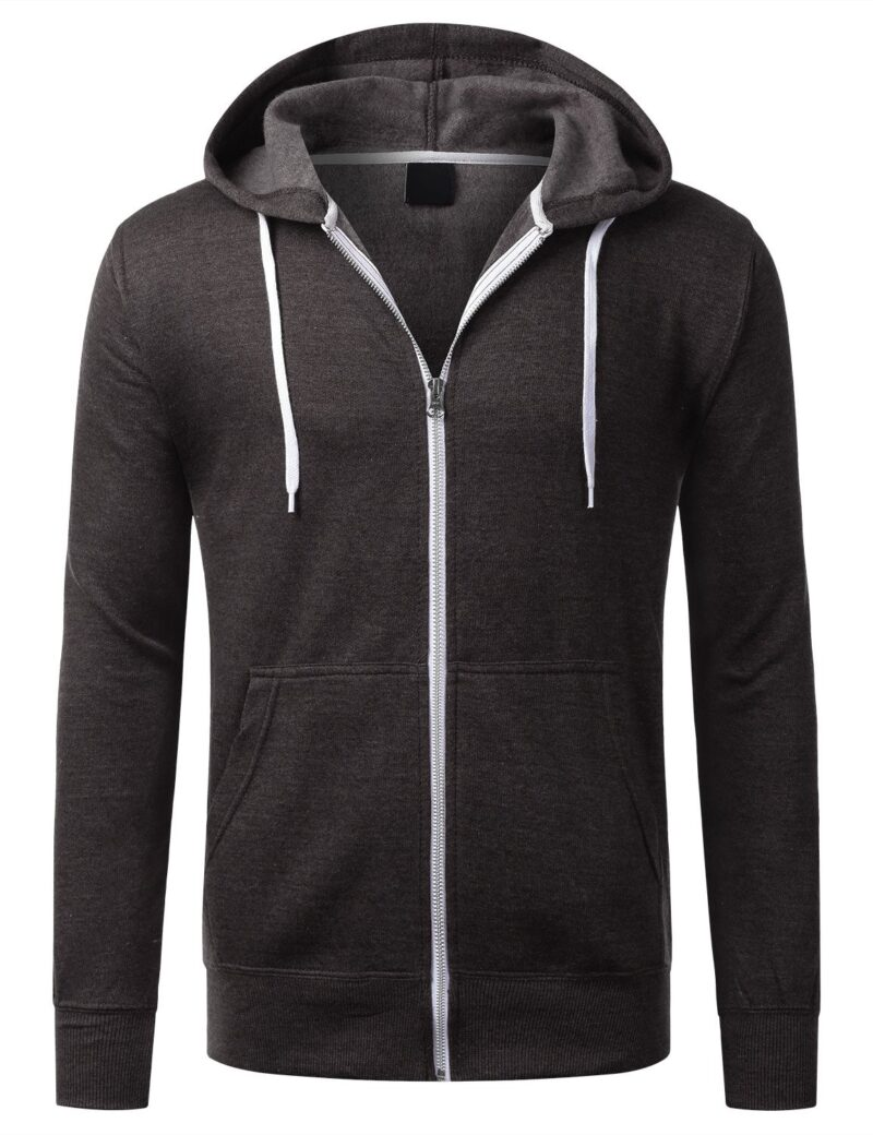 Brown French Terry Zip Hoodie 1