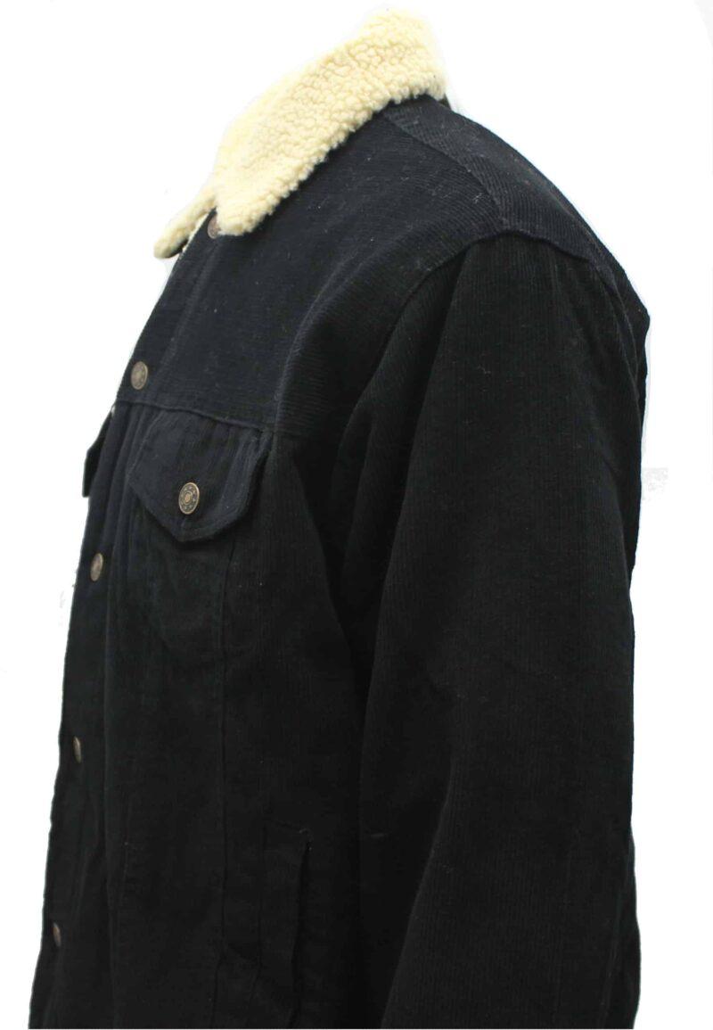 Black Corduroy Sherpa Jacket 1