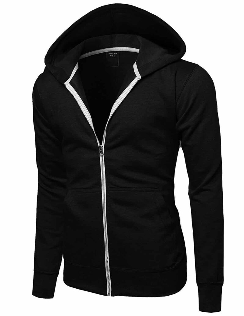 Black French Terry Zip Hoodie 1