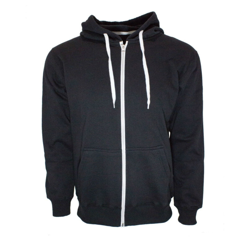 black french terry zip hoodie