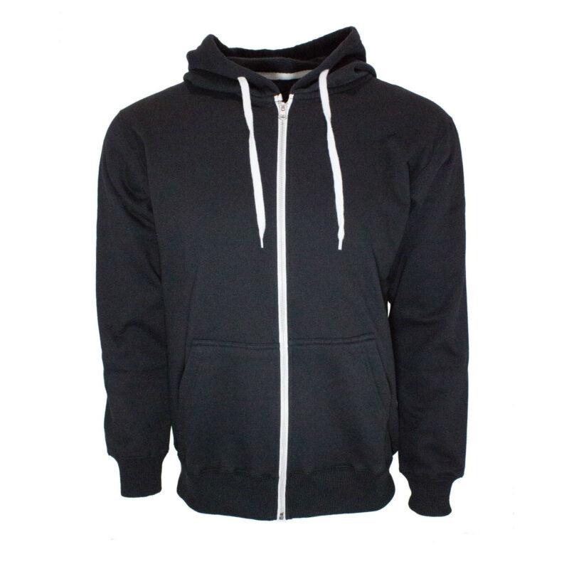 black french terry zip hoodie
