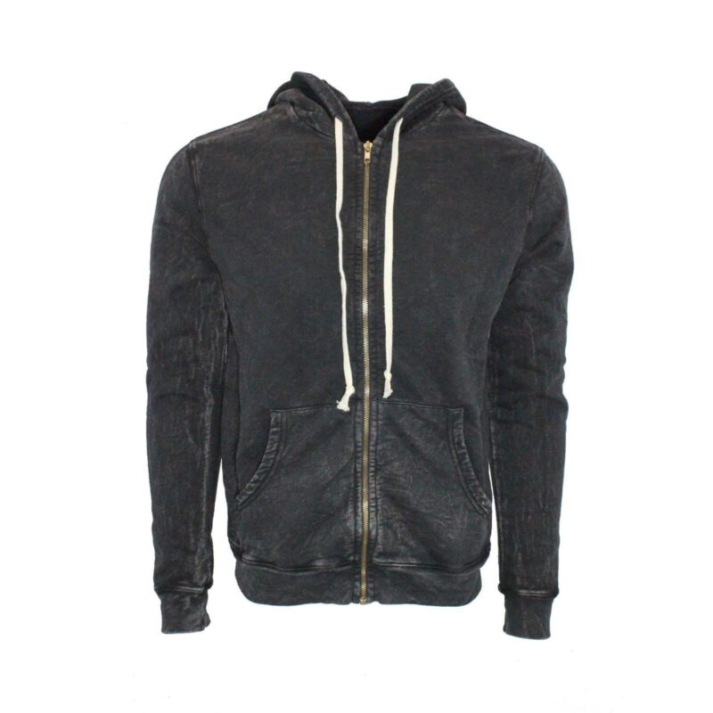 Black Acid Wash Zip Hoodie
