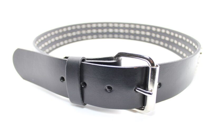 3 Row Pyramid Studded Leather Belt 1