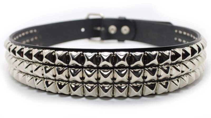 3 Row Pyramid Studded Leather Belt 2