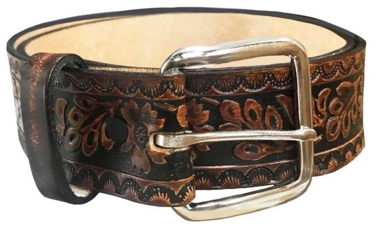 FLOWER EMBOSSED BROWN LEATHER BELT 2