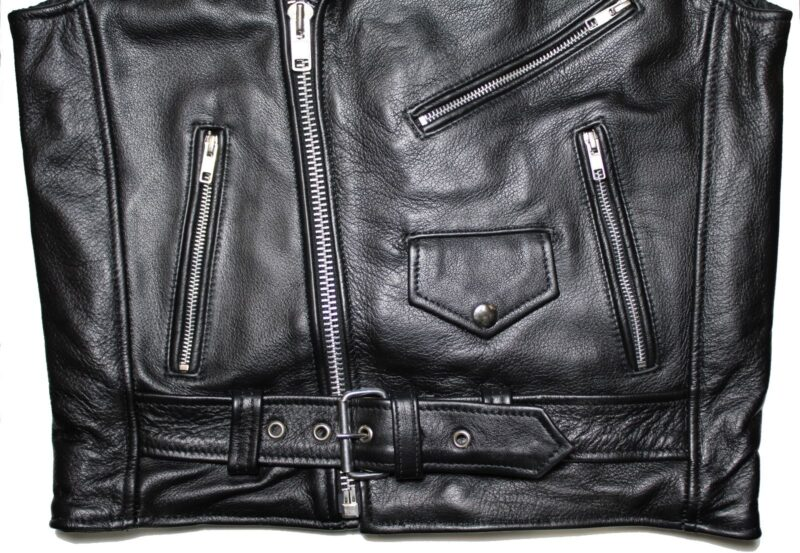 Black Buffalo Leather Biker Vest 1