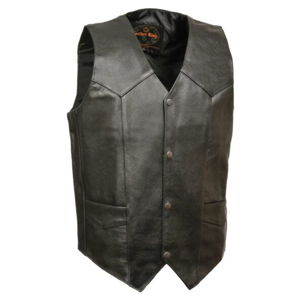 Plain Black Leather Vest