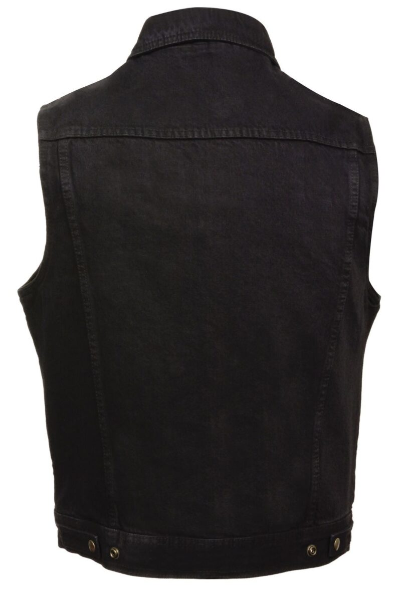 Black Denim Biker Vest with Collar w/Gun Pockets By Milwaukee Leather 1